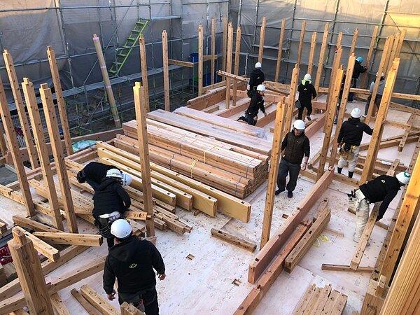 佐賀市H様邸木の家 棟上げの画像